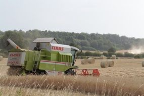 harvester on the field during harvesting