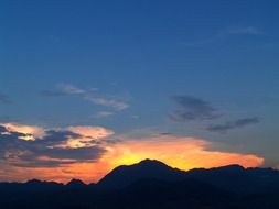panorama of beautiful evening mountains