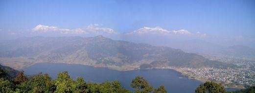 Phewa lake viewed from the mountains