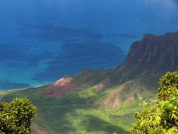 panoramic view of the pacific ocean coast in hawaii