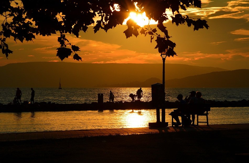 balaton lake in western Hungary sunset nature