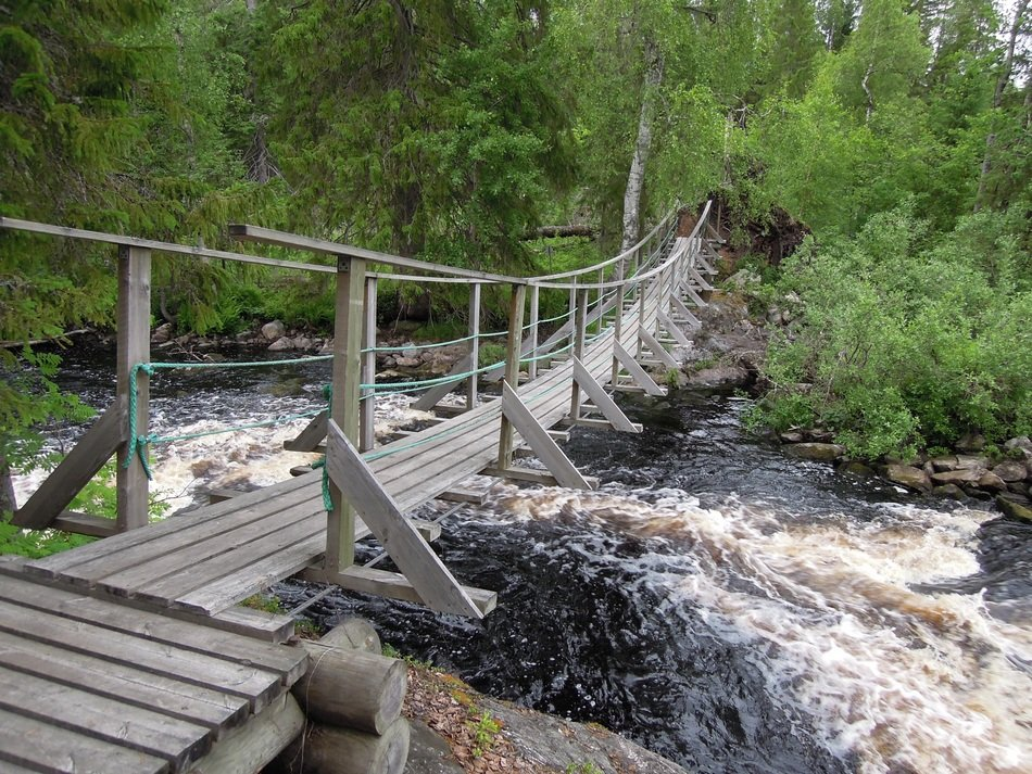 landscape of wooden bridge over the waterfall