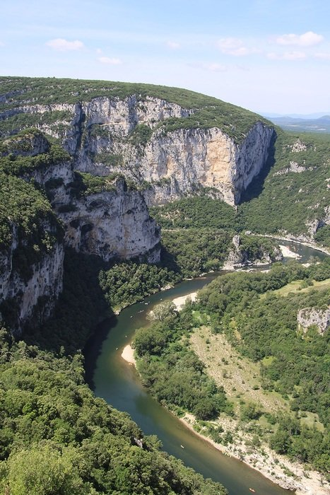 panorama of a river in a gorge in Ardeche