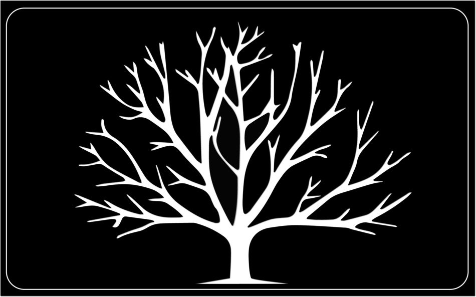 White tree on a black background