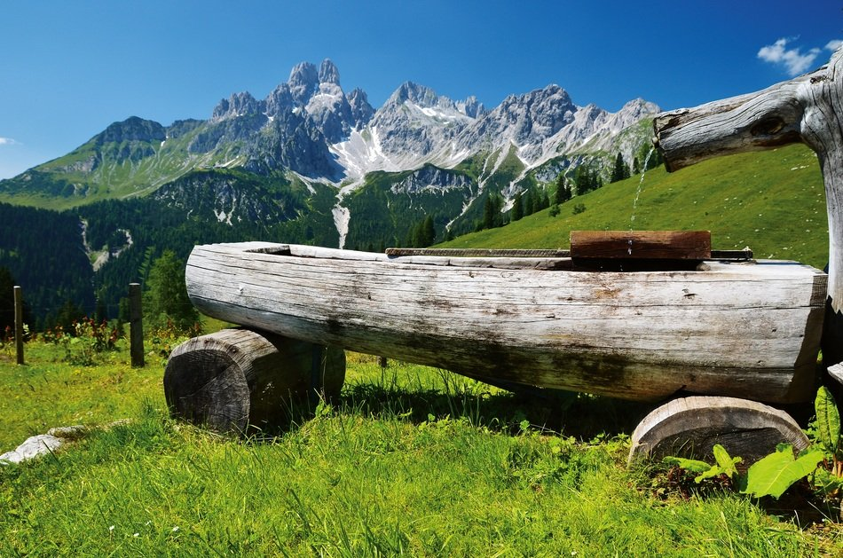 wooden table on alpine mountains