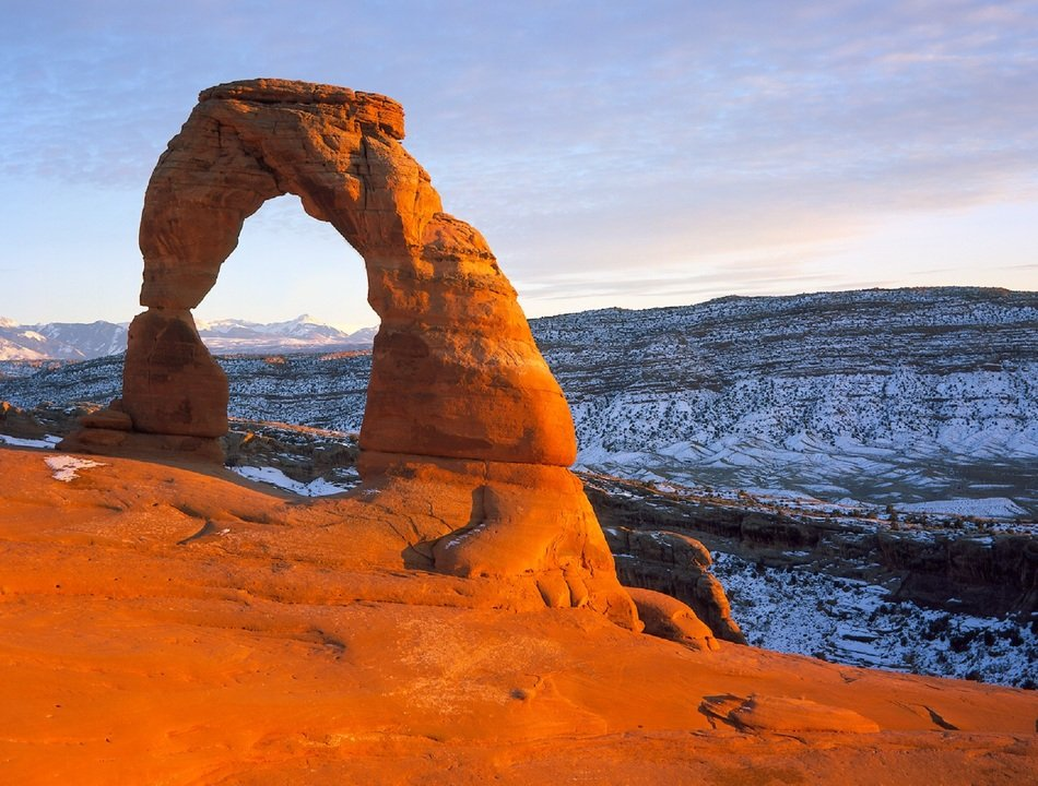 stone arch in the mountains of utah