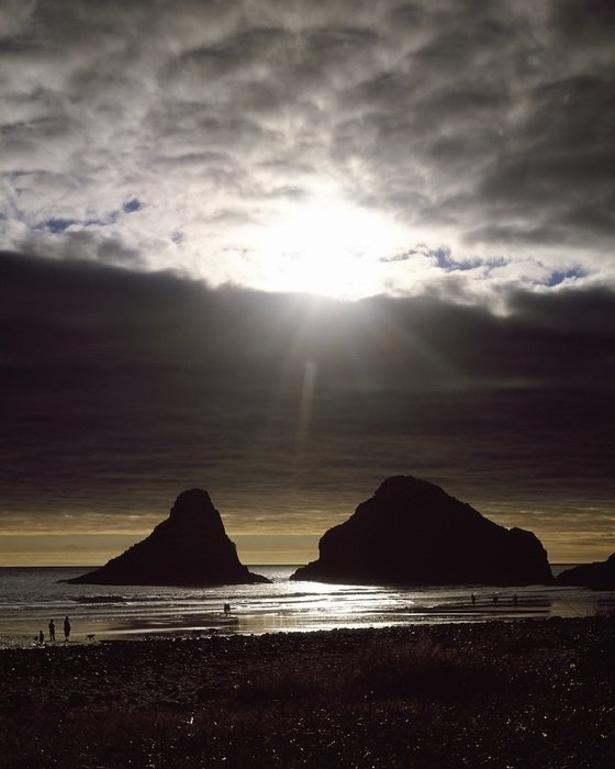 silhouettes of people on the evening coast, Oregon