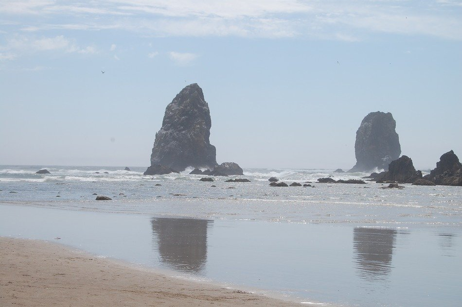 scenic rock formations in ocean at coast, usa, oregon