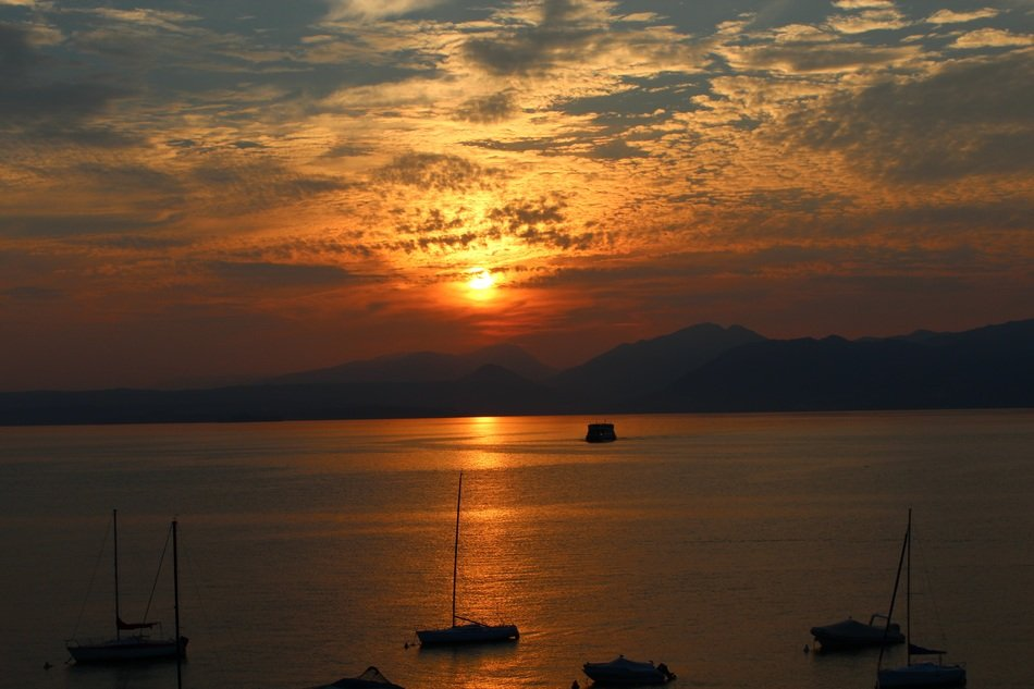 Sunset in Garda in the evening