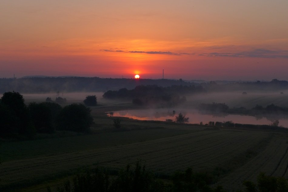 scarlet sunrise over Silesia