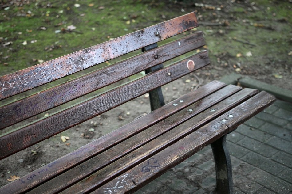 park bench with inscriptions