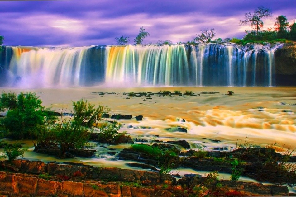 Picturesque colorful waterfall