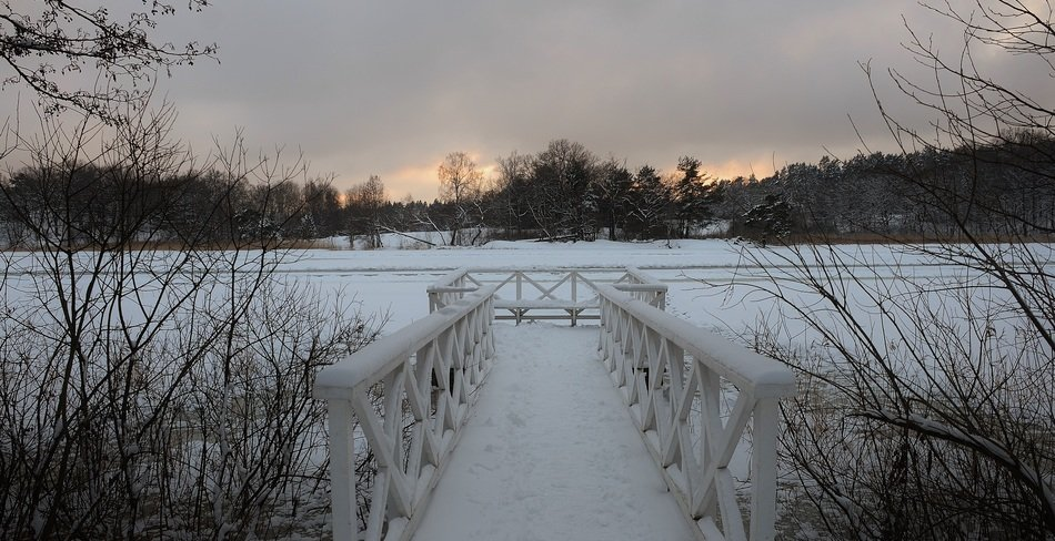 Landscape of snowy bridge