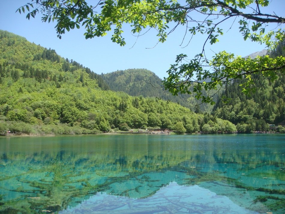 turquoise clear water in a mountain lake