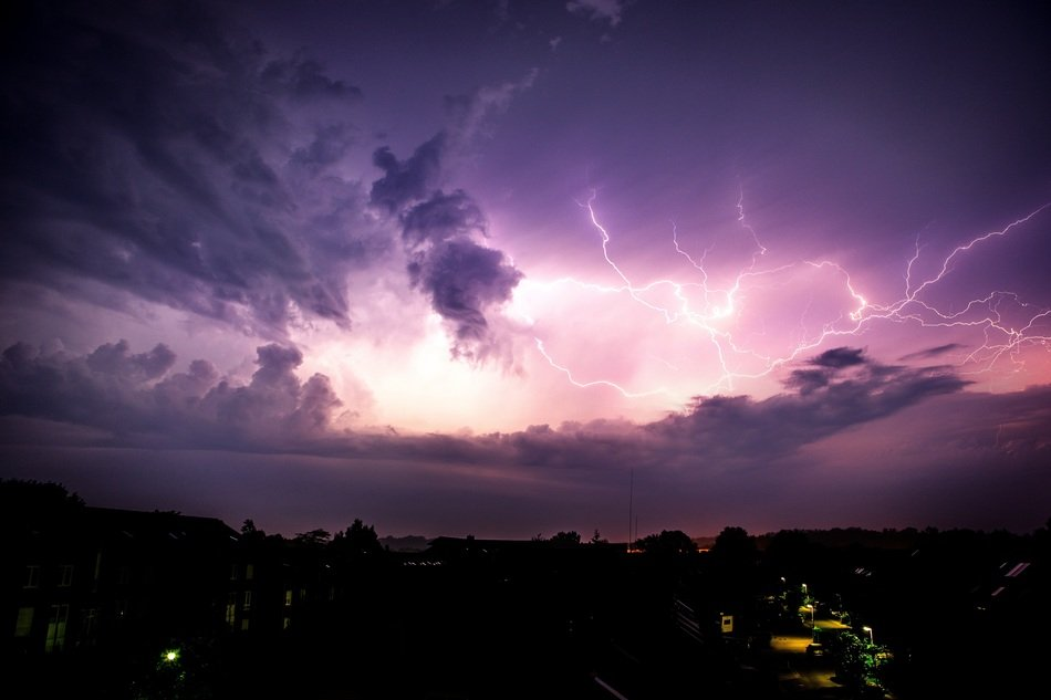 thunderstorm in the purple sky