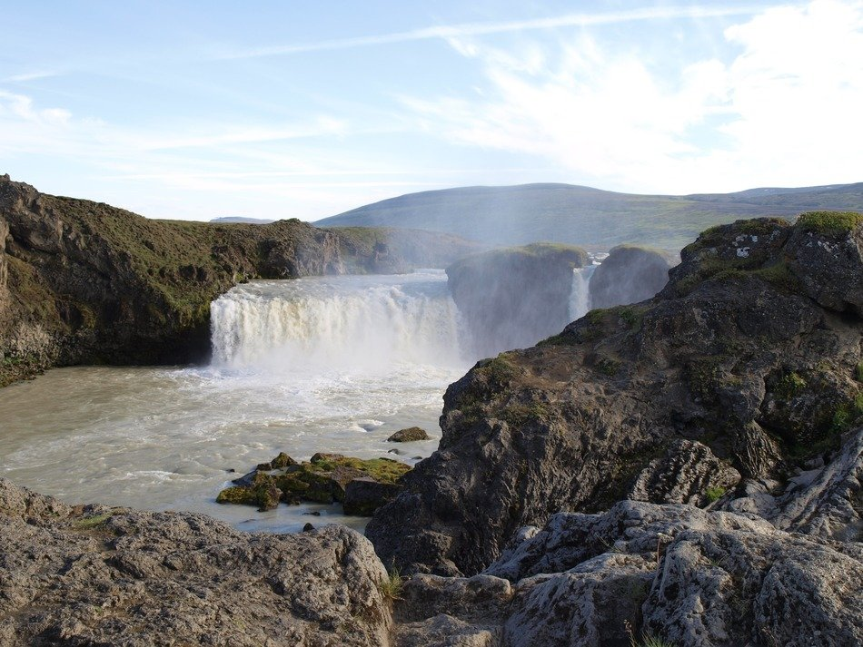 Landscape of iceland waterfall
