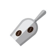 Coffee metal scoop with coffee beans illustration