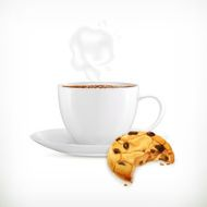 Cup of coffee and cookies isolated vector illustration