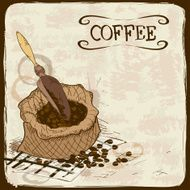 Illustration with coffee beans bag and scoop