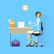 Business Woman Drink Coffee Sitting in Office Working Laptop Computer