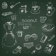 Morning doodle set coffee cup breakfast toothbrush toothpas N2