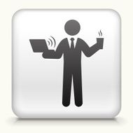 Square Button with Businessman Working