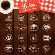 Vintage bakery badges labels and logos