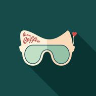 Sunglasses coffee love flat square icon with long shadows