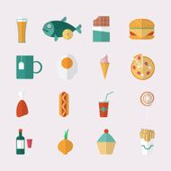 Food icons - flat style Vector illustration