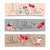 Paris watercolor symbols banners