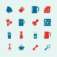 coffee maker icon set2-color series