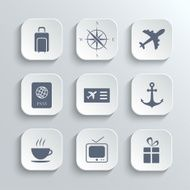 Travel icons set - vector white app buttons