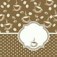 Template frame design with cup of coffee
