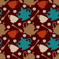 Seamless pattern with silhouettes cups teapots spoons sugar N4
