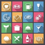 set of dish and food icons in flat design