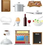 set kitchen icons for restaurant cooking vector illustration N2