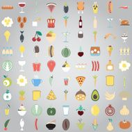 Colorful Food icons Fruit and vegetable App Set N5