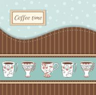 Vector background with coffee mugs