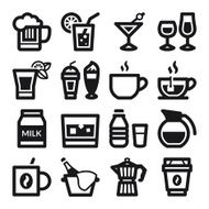 Beverage flat icons Black
