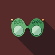 Green coffee sunglasses flat square icon with long shadows
