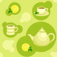 Seamless green pattern with teapot and cups