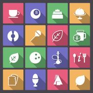 set of food and entertainment icons in flat design