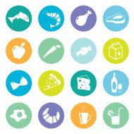 Colourful food grocery icons