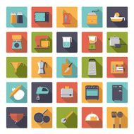 Flat Design Cooking Appliances Vector Icons Collection