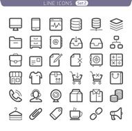 Line icons Communication and Shopping