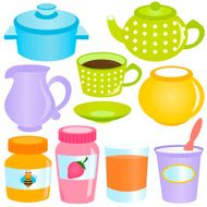 Cute vector cartoon Pastel containers eating utensils Tea time