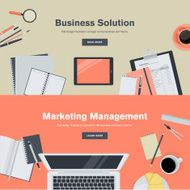 Set of flat design concepts for business and marketing management