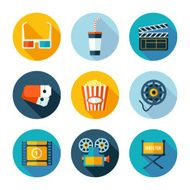 Set of flat cinema and movie icons