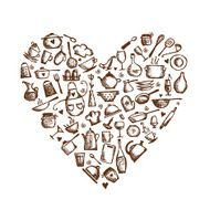 I love cooking! Kitchen utensils sketch heart shape