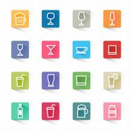 Drink cocktail flat icons set and white background